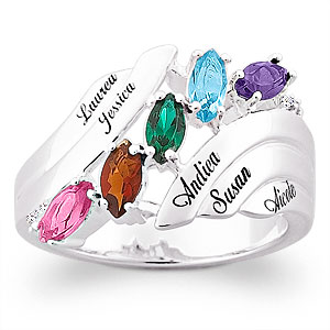 Marquise Birthstone Mother's Ring with Diamond Accent