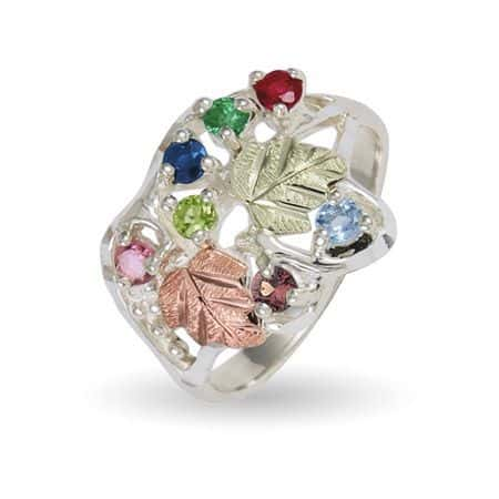 Black Hills Gold on Sterling Family Genuine Birthstone Ring