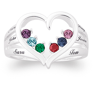 Sterling Silver Heart Shaped Mother's Day ring with birthstones and names is a stylish way for Mom to show her love for her family.