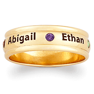Contemporary Birthstone and Name Mothers Ring