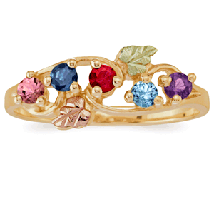 Black Hills Gold Mother's Day Birthstone Ring - Gorgeous ring features the traditional pink and green Black Hills gold design, and features up to 6 birthstones.