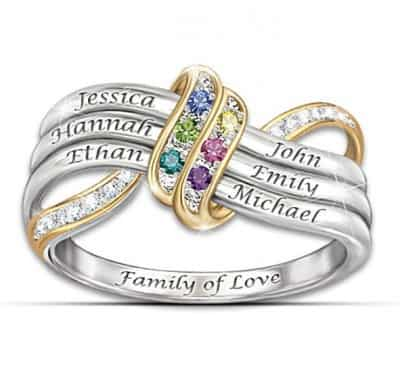 Personalized  Mother's Day Ring with Names and Birthstones - stunning ring features sparkling birthstones and names all tied together in an infinity symbol band.  The inside is inscribed,
