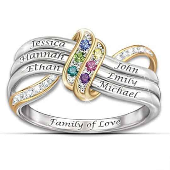 Family of Love Mothers Birthstone Infinity Ring with Names