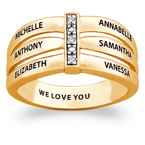 Diamond Mothers Ring with Names and Personalized Message