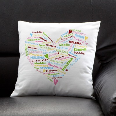 Delight Grandma with this sweet pillow that features all her loved one's names printed throughout a heart-shaped design.