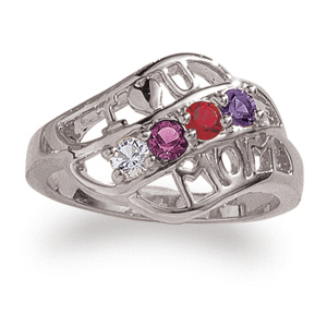 I Love You Mom Ring with up to 7 birthstones - send Mom a message of love every day with this reasonably-priced birthstone ring.