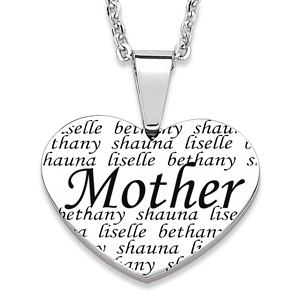 Mother Heart Necklace with Kids Names
