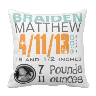 Personalized birth pillow is a fun gift for the new Mom on her first Mother's Day.  Choose from dozens of styles...a great look for the nursery or family room!