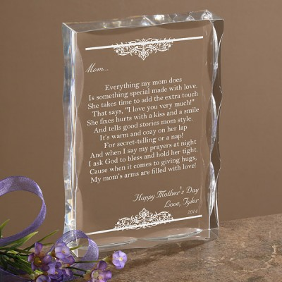 Top Mothers Day Gifts from her daughter - Touch Mom's heart with a sentimental poem or letter engraved on a striking Lucite box.