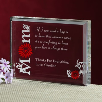 Mother's Day Engraved Keepsake - Engrave a loving message to Mom that she can keep forever on this cheerful Lucite block keepsake.