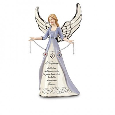 "Lovely personalized angel figurine for Mom features each of her children's birthstones.  The sweet inscription reads ""A mother holds her children's hands for just a little while, but holds their hearts forever.""  #mothersdaygift #mothersday"