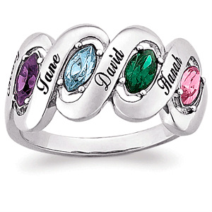 Birthstone and Name Family Ring - Thrill Mom this year with a personalized Mothers ring! No need to spend a fortune - this affordable mother's ring is under $50!