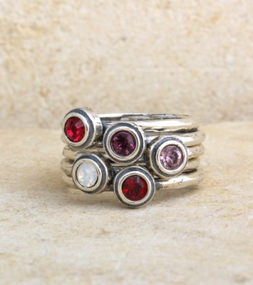 Stackable Sterling Silver Birthstone Rings