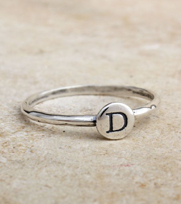 Sterling Silver Initial Ring for Mom - The trendy Mom can mix and match these inexpensive initial rings with other rings to create a look that's all her own. Fabulous - and affordable - gift for any occasion!