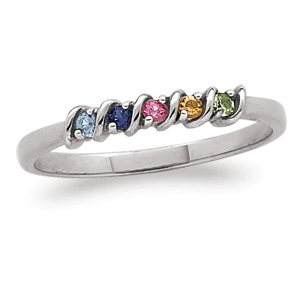 Sterling Silver Mother's Birthstone Thin Ring - Delicate band is a wonderful Mother's Day or Christmas gift for Mom or Grandma!