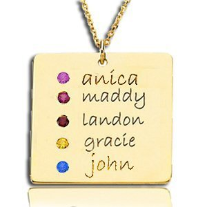 Square Necklace with Names and Birthstones - Silver or Gold
