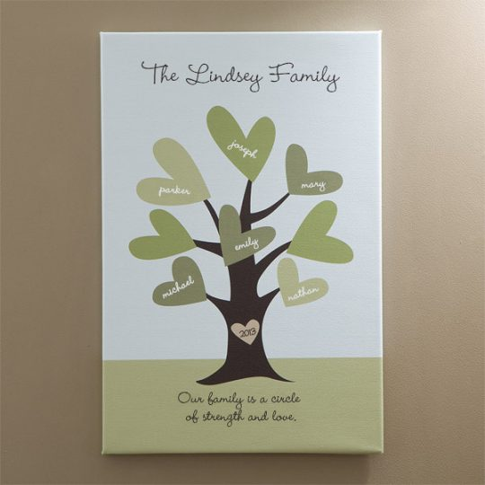 Family Tree Of Hearts Personalized Wall Canvas