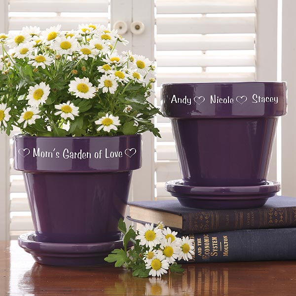 Garden of Love Personalized Flower Pot – Purple or Red
