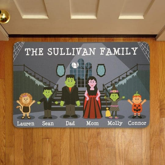 My kids would have a ball choosing a Halloween character for each family member in this fun personalized Halloween doormat!