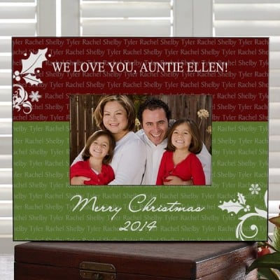 Bright and cheerful personalized Aunt Christmas frame is a gift any aunt would be proud to display!