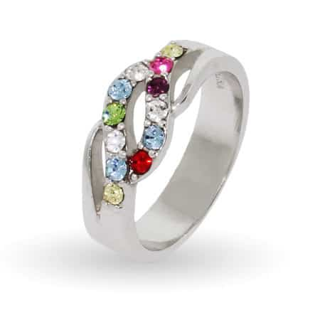 12 Birthstone Sterling Silver Wave of Love Mothers Ring