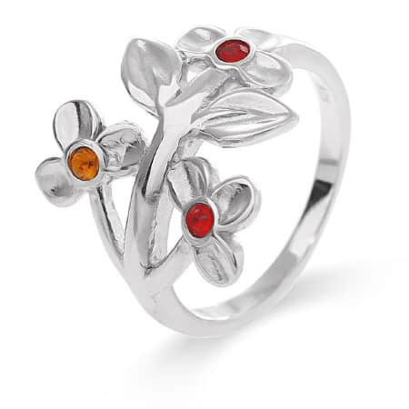 3 Stone Flower Blossom Mother's Ring