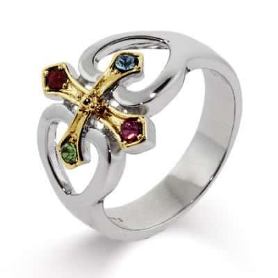 4 Birthstone Ring Gold Cross & Hearts