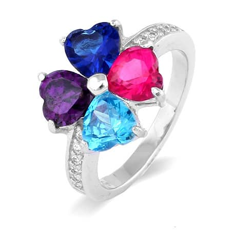 4 Stone Heart Shaped Mothers Birthstone Ring
