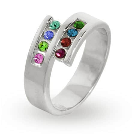 8 Stone Sterling Silver Mother's Ring