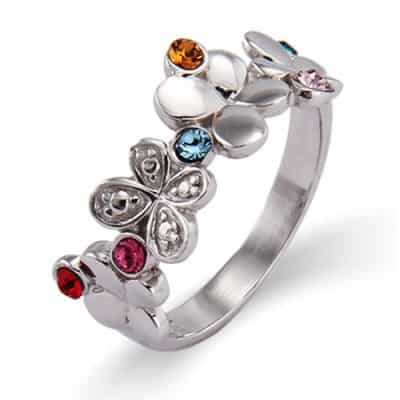 Unique Mother's Day birthstone ring features whimsical butterflies and kids' birthstones.
