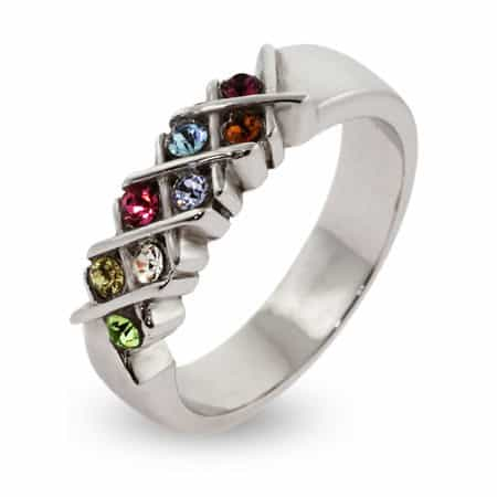 Custom 8 Stone Birthstone Sterling Silver Ring
