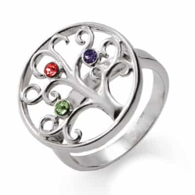 Custom Birthstone 3 Stone Silver Family Tree Ring