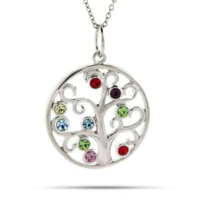 Family Tree Birthstone Necklaces - Custom 9 Birthstone Family Pendant