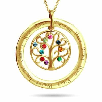 Grandma Necklace - Custom 10 Stone Birthstone Family Tree Gold Pendant