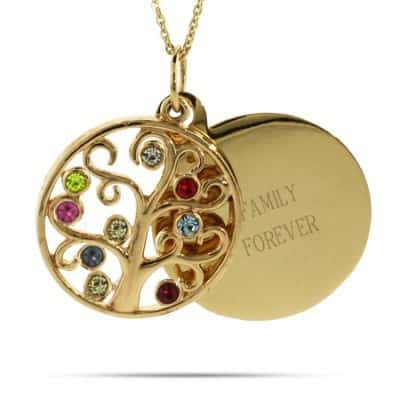 Grandma Necklace - Engravable 9 Birthstones Gold Family Tree Pendant
