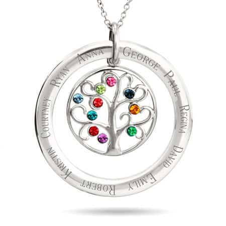 Grandmother Necklace - 10 Stone Birthstone Crystal Family Tree Pendant