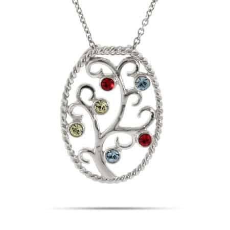 Grandmother Necklace - 6 Stone Custom Birthstone Family Tree Pendant