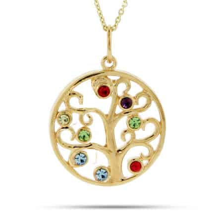 Grandmother Necklace - 8 Birhtstone Gold Vermeil Family Tree Pendant