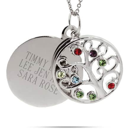 Grandmother Necklace - Engravable 8 Stone Crystal Family Tree Pendant