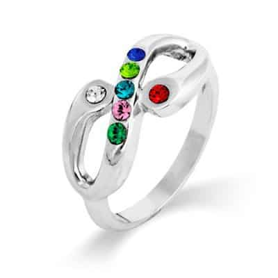 Infinity Family Birthstone Ring with Parent's Birthstones
