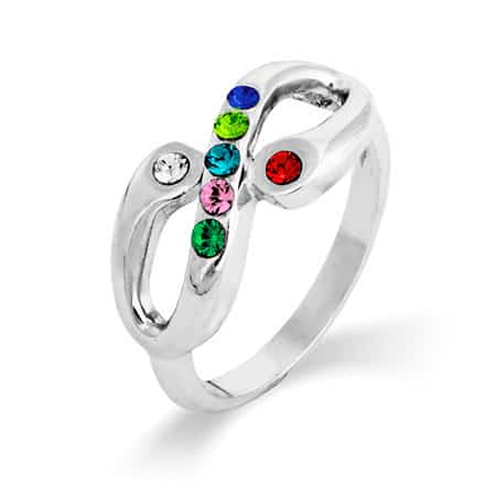 Infinity Family Birthstone Ring with Parents Birthstones