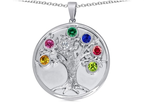 Original Star K(tm) 7 Stone Family Tree Pendant Round 5mm Simulated Birthstones