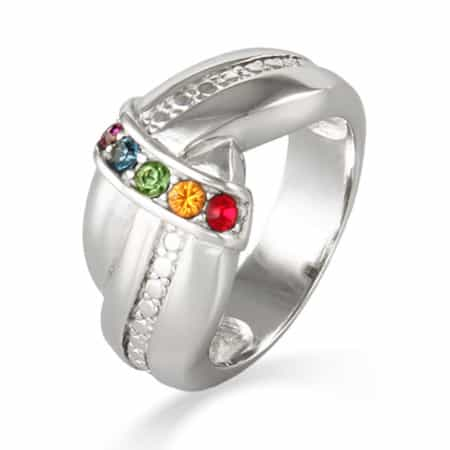 Sterling Silver Love Knot Birthstone Ring for Mom