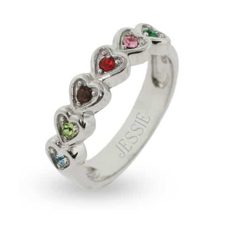 Sterling Silver Ring of Hearts Family Birthstone Ring