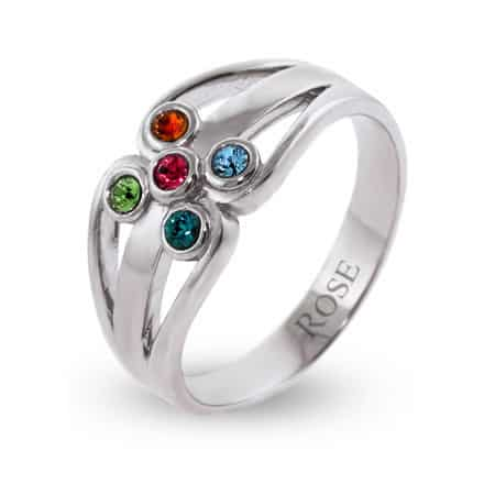 Sterling Silver Swarovski Family Birthstone Ring