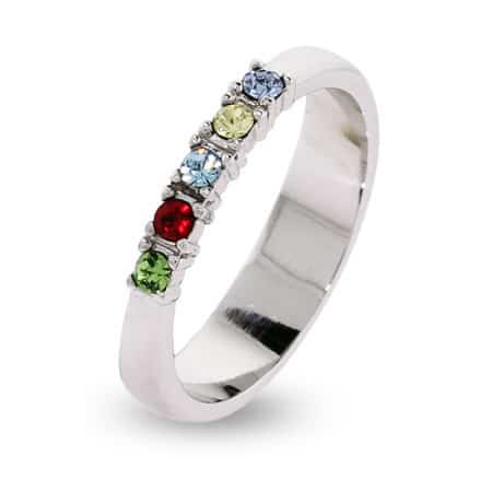 Thin Band Mothers Birthstone Ring