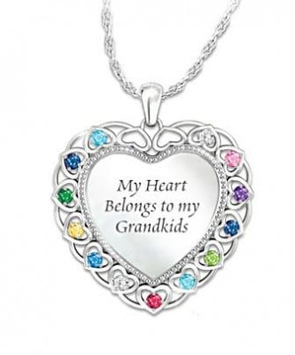 My Heart Belongs to My Grandkids Necklace Front