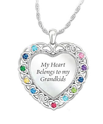 kids name mom personalized birthstone names gift pendant in with necklace silver s heart