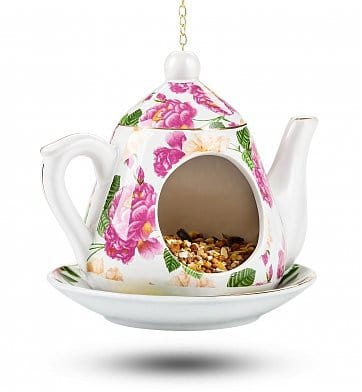 Floral Teapot Bird Feeder