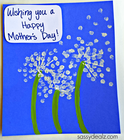 Q-tip Dandelion Homemade Mothers Day Card